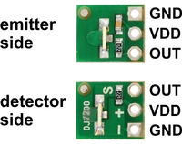 QTR-L-1RC reflectance sensor emitter and detector sides with labeled pinout.