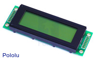 20x4 Character LCD with LED Backlight (Parallel Interface), Black on Green