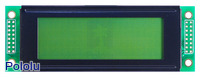 20×4 black-on-green character LCD with LED backlight.