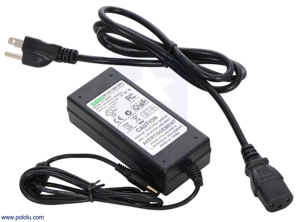 Pololu Wall Power Adapter 12vdc 5a 5521mm Barrel Jack Wiring New