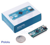 Arduino Micro with packaging and U.S. quarter for size reference.