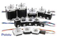Pololu's assortment of stepper motors.