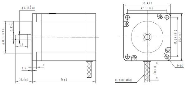 pololu stepper motor bipolar, 200 steps rev, 57×76mm, 3 2v, 2 8 a