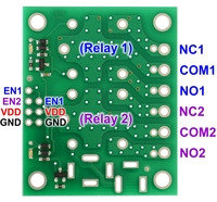 """Pinout of Pololu basic 2-channel SPDT relay carrier for """"sugar cube"""" relays."""