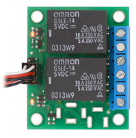 Pololu basic 2-channel SPDT relay carrier with both relays energized.