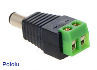 DC barrel plug to 2-pin terminal block adapter.