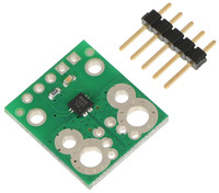 ACS711EX current sensor carrier with included 5×1 0.1″ header pins.