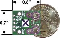 ACS711EX current sensor carrier -15.5A to +15.5A back with dimensions.
