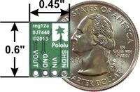 Pololu step-up voltage regulator U1V11F3/U1V11F5/U1V11A, bottom view with dimensions.