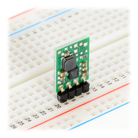 Pololu step-up voltage regulator U1V11F3/U1V11F5 in a breadboard.