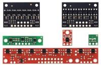 QTR sensor size comparison. Clockwise from top left: QTR-3RC, QTR-1RC, QTR-L-1RC, QTR-8RC.