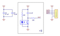Schematic diagram for the QTR-3RC reflectance sensor array.