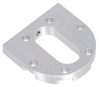 Pololu machined aluminum bracket for 37D mm metal gearmotors, motor side.
