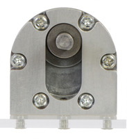 Pololu machined aluminum bracket for 37Dmm metal gearmotors mounting a motor to a clear piece of acrylic, front view.