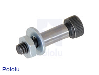 Shoulder bolt with flat washer and hex nut.