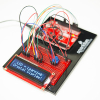 SparkFun Inventor's Kit (V3 shown) set up with an example LCD circuit.