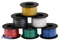 Assorted colors of stranded wire (available in various gauges; 26 AWG spools shown).