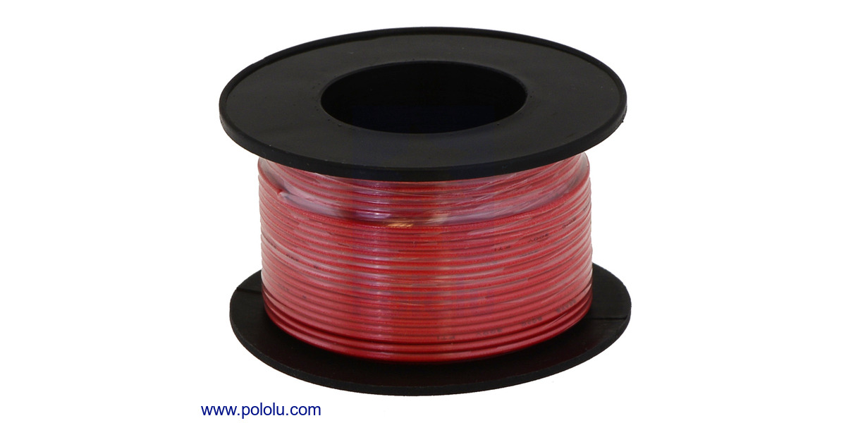 Pololu stranded wire red 28 awg 90 feet greentooth