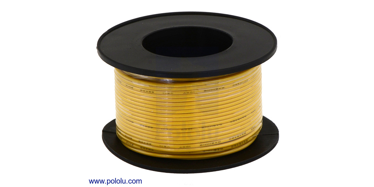 Pololu - Stranded Wire: Yellow, 26 AWG, 70 Feet