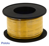 Stranded Wire: Yellow, 24 AWG, 60 Feet