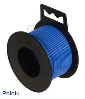 Stranded wire with blue insulation (available in various gauges; 26 AWG spool shown).