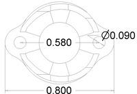 Pololu 1/2 inch plastic ball caster dimensions (unit: inch)