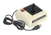 This converted Tandy Deluxe Joystick is now usable as a USB Human Interface Device.