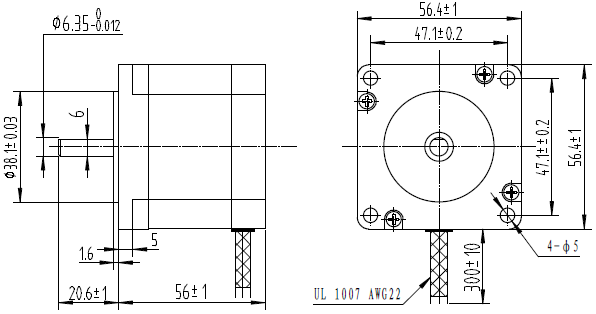 Pololu dimensions in mm of 57mm square nema 23 by for Nema stepper motor sizes