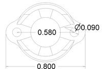 Pololu 1/2 inch metal ball caster dimensions (unit: inch)