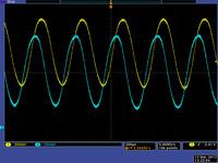 5V encoder version, motor approx. 30k RPM: 5-tooth wheel way too far from sensors.