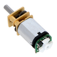 Installed micro metal gearmotor reflective optical encoder with 5-tooth wheel.