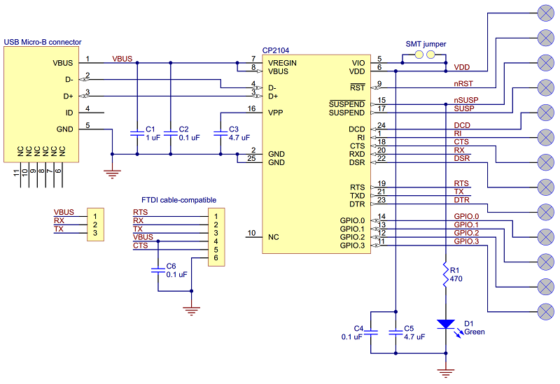 pololu schematic diagram for the cp2104 usb to serial adapter carrier rh pololu com 5V USB Battery Charger Circuit 5V USB Battery Charger Circuit