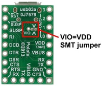 VIO=VDD SMT jumper on the bottom of the CP2104 USB-to-serial adapter carrier.