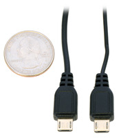 USB A to Micro-B cable size comparison: standard cable (#1939) on left, thin cable (#1938) on right.