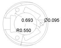 Pololu 1 inch plastic ball caster dimensions (unit: inch)