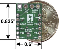 Pololu RC Switch with Medium Low-Side MOSFET, bottom view with dimensions.