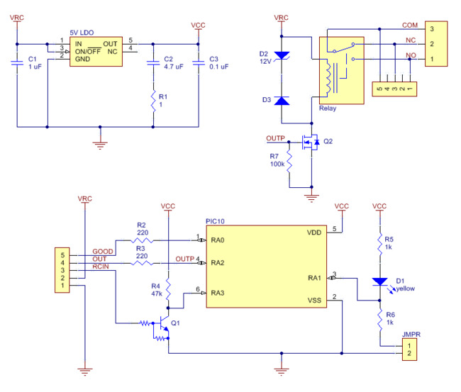 Pololu 53 Schematic Diagram for the RC Switch with Relay