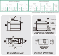 SpringRC SM-S4303R continuous rotation servo dimensions and technical specifications (subject to change without notice).