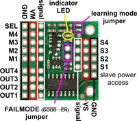 Pololu 4-Channel RC Servo Multiplexer (Partial Kit), labeled pinout.