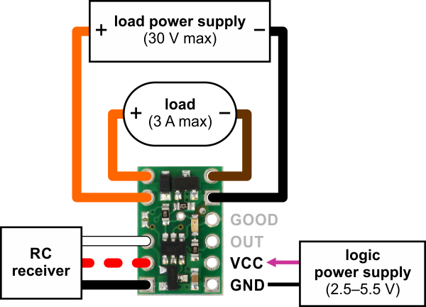 pololu rc switch with small low side mosfet, typical wiring diagram RC Boat Wiring Diagram