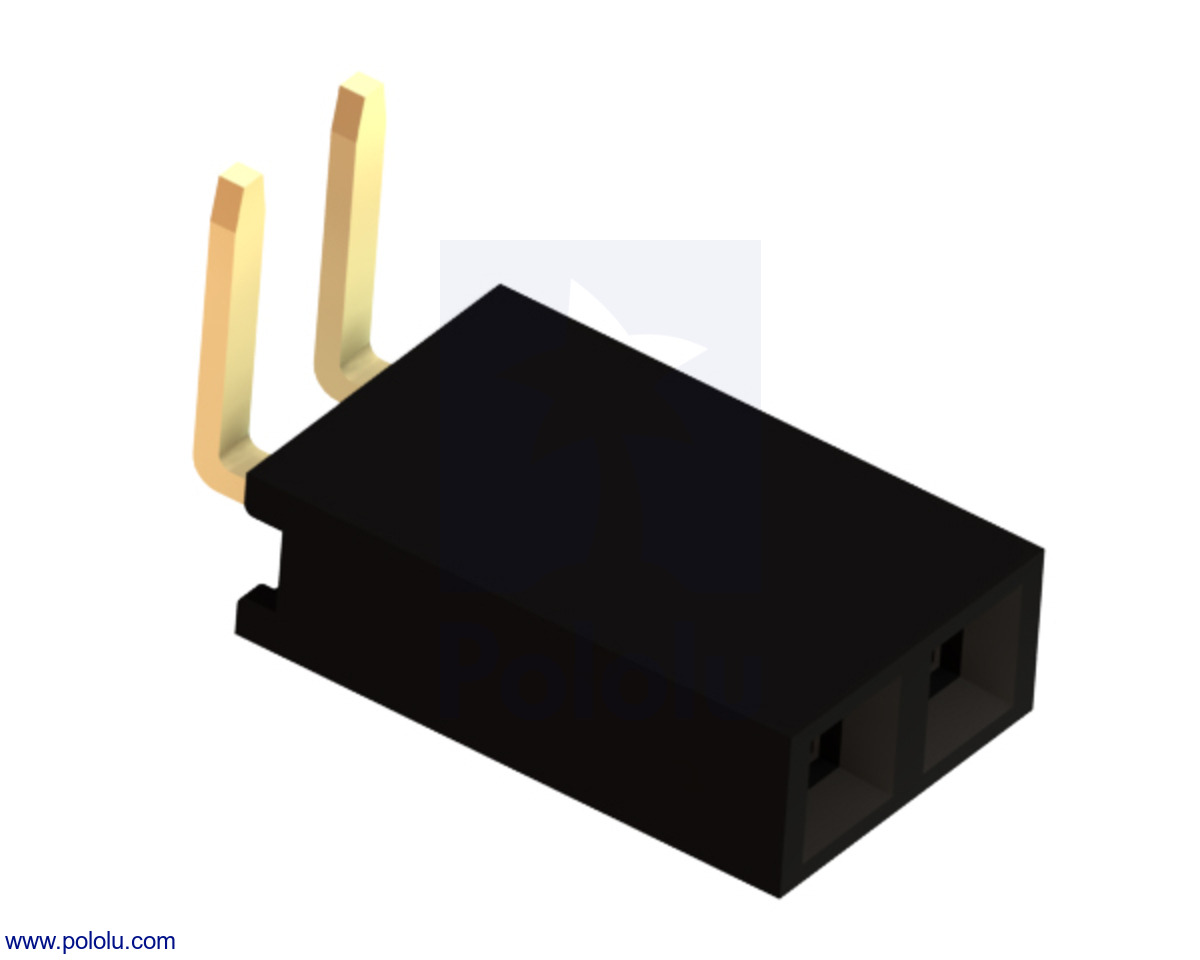 "Pololu - 0.100"" (2.54 mm) Female Header: 1×2-Pin, Right-Angle"