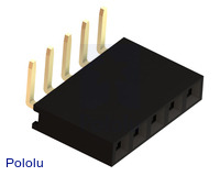 """0.100"""" (2.54 mm) Female Header: 1x5-Pin, Right-Angle"""