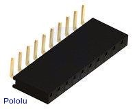 "0.100"" (2.54 mm) Female Header: 1x10-Pin, Right-Angle"