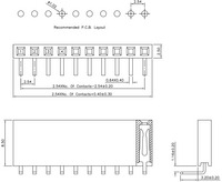 Dimensions for 0.1″ right-angle female headers in millimeters.