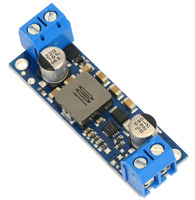 Pololu fixed step-up voltage regulator U3V50Fx, assembled with included terminal blocks.