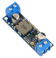 Pololu adjustable 9-30V step-up voltage regulator U3V50AHV, assembled with included terminal blocks.