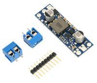 Pololu fixed step-up voltage regulator U3V50Fx with included optional terminal blocks and header pins.