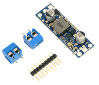 Pololu adjustable step-up voltage regulator U3V50Ax with included optional terminal blocks and header pins.