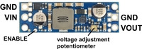 Pololu adjustable step-up voltage regulator U3V50Ax, labeled top view.