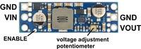 Pololu adjustable step-up voltage regulator U3V50Ax, labeled top view.